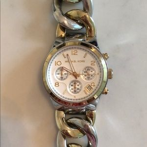 Michael Kors Silver and Gold Chain Link Watch